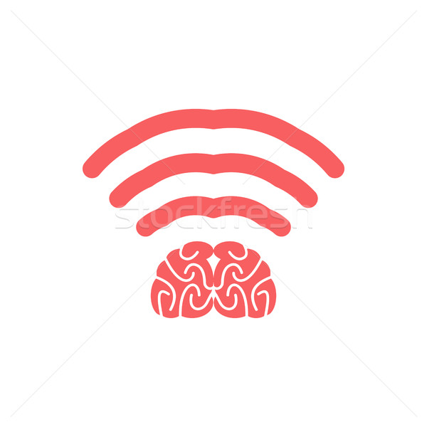 Wi-fi brain. WiFi mind. Wireless connection wiseacre. Passing th Stock photo © popaukropa
