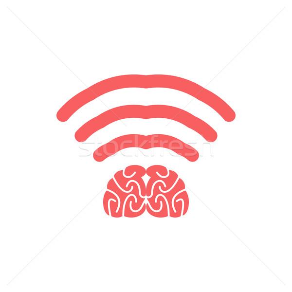 Wifi hersenen geest draadloze verbinding gedachten Stockfoto © popaukropa