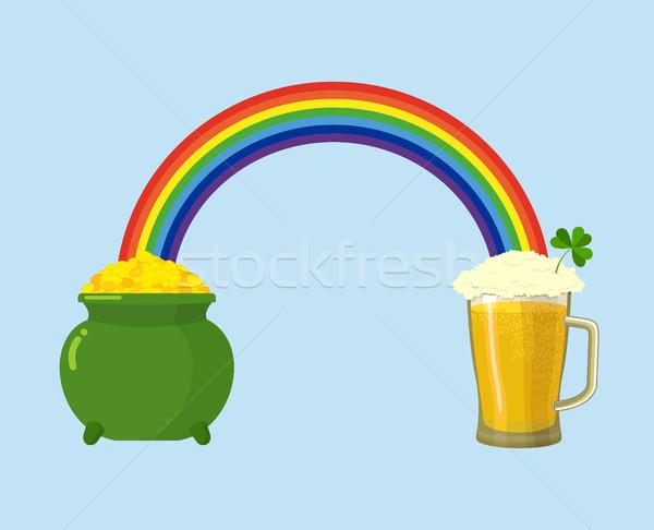 Stock photo: Pot of gold and mug beer. Treasures leprechaun and rainbow. St.