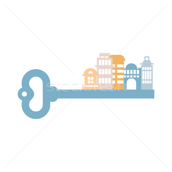 Key to City. Buildings and homes. urban clue isolated. Real esta Stock photo © popaukropa