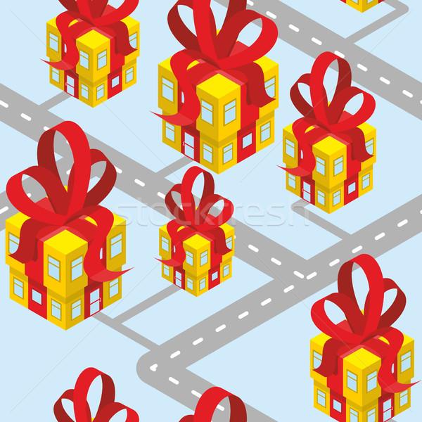 Város ajándékok végtelen minta épület ajándék doboz piros Stock fotó © popaukropa