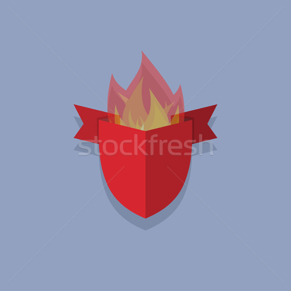 shields with fire. element heraldic Stock photo © popaukropa