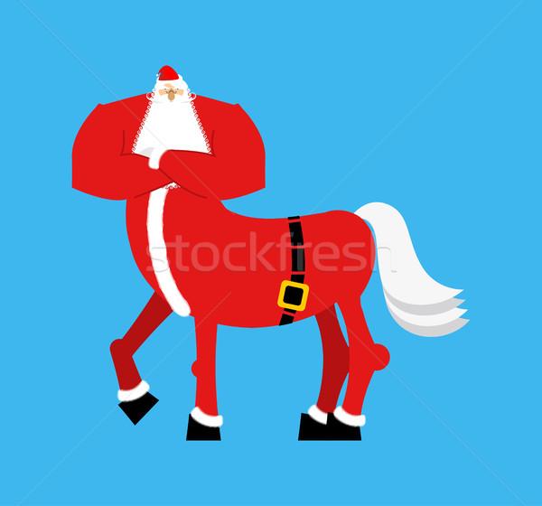 Stock photo: Santa Claus centaur. Santa monster. Half man half horse. Christm