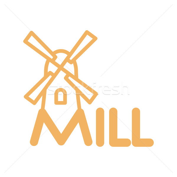 Mill line icon. Sign for production of bread and bakery. traditi Stock photo © popaukropa