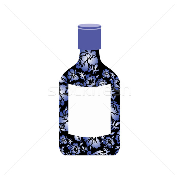 Russian vodka bottle Gzhel painting. National folk alcoholic dri Stock photo © popaukropa