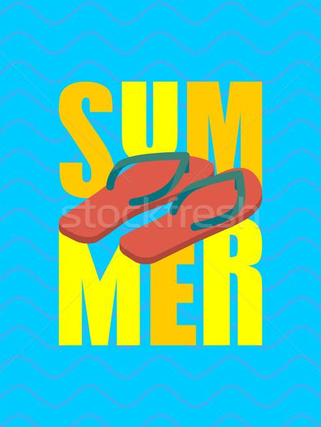 夏 スリッパ 海 靴 タイポグラフィ 手 ストックフォト © popaukropa