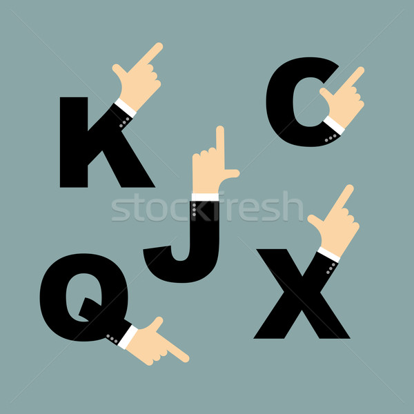 Set business logos hands. Hand in costume. Hands letters in an O Stock photo © popaukropa