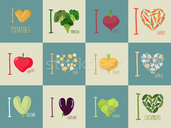 Set of I love vegetables: Eggplant and cucumber. Symbol of heart Stock photo © popaukropa