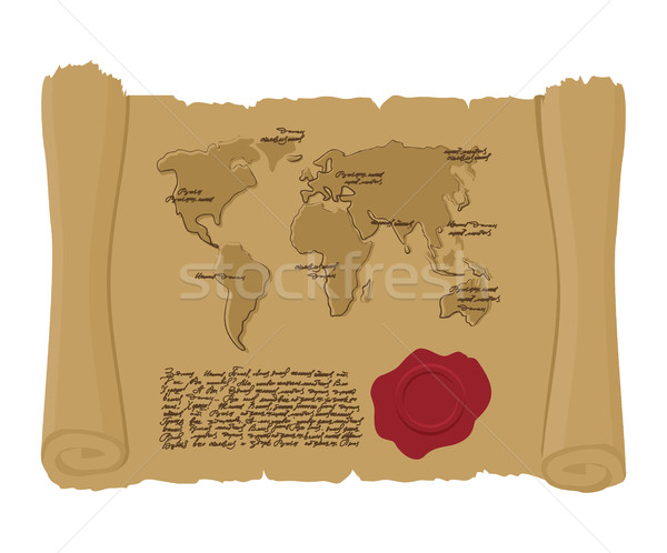 Map world of  ancient scroll with seal of King. Old document. Ar Stock photo © popaukropa