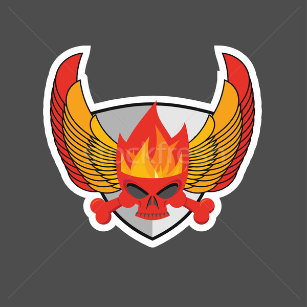 skull with flames on the shield and wings. Heraldry Stock photo © popaukropa