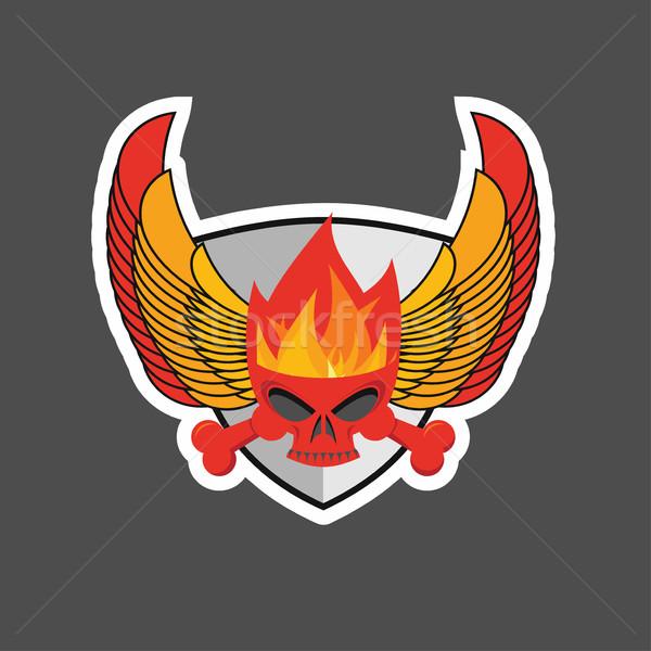 череп пламя щит крыльями геральдика металл Сток-фото © popaukropa