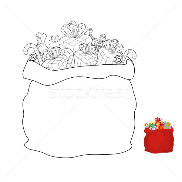 Santa bag coloring book. Christmas sack line style Stock photo © popaukropa