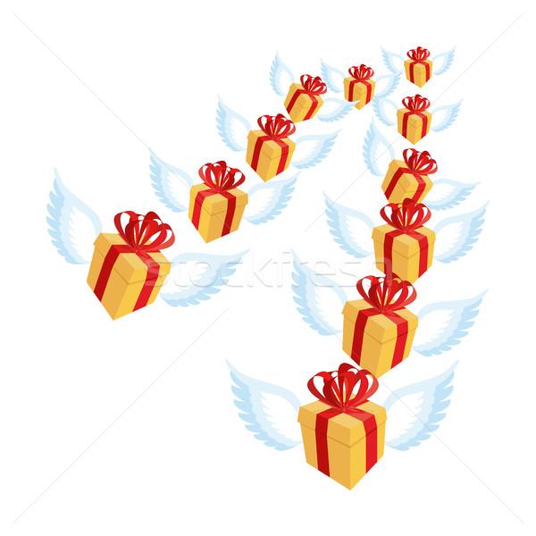 Ajándék szárnyak repülés sereg ajándék doboz piros Stock fotó © popaukropa