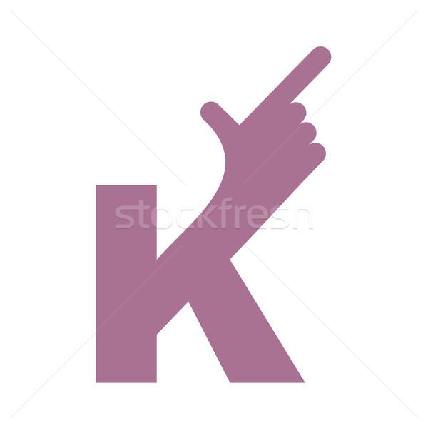 K letter hand isolated. Forefinger lettering on white bacgkround Stock photo © popaukropa