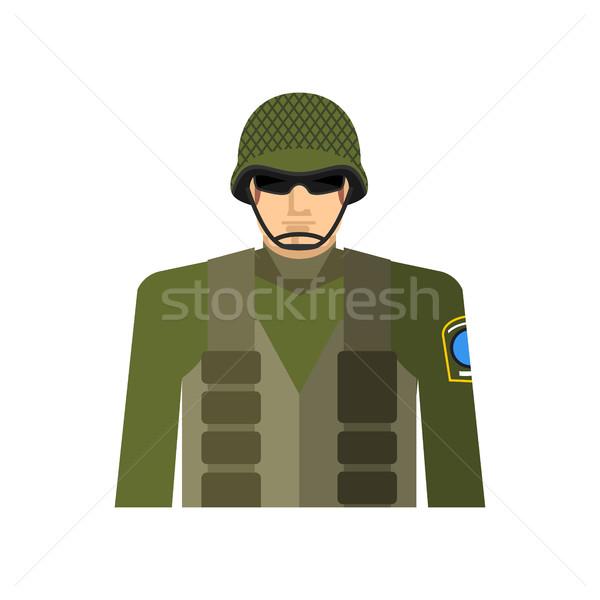 солдата портрет военных шлема куртка специальный Сток-фото © popaukropa