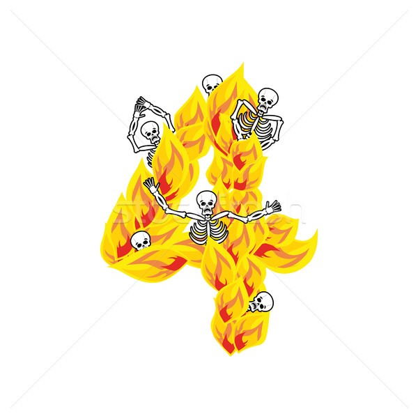 Number 4 hellish flames and sinners font. Fiery lettering four.  Stock photo © popaukropa