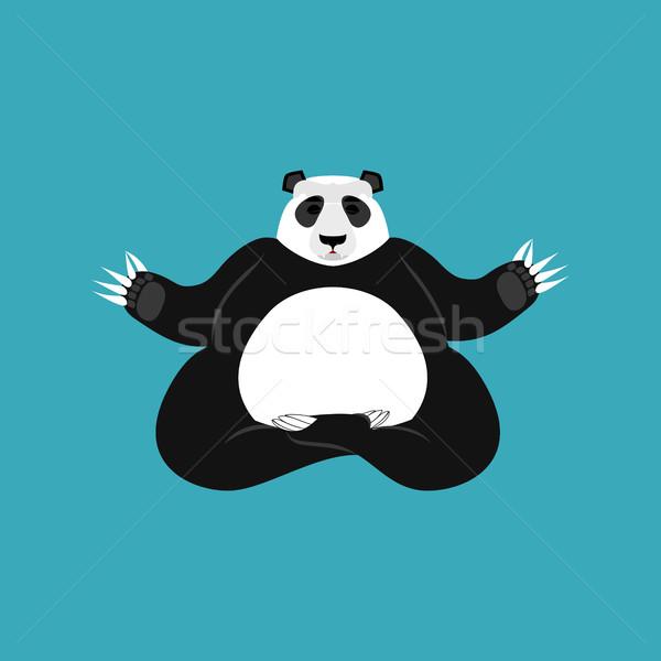 Panda Yoga. Chinese bear yogi. Animal zen and relax Stock photo © popaukropa