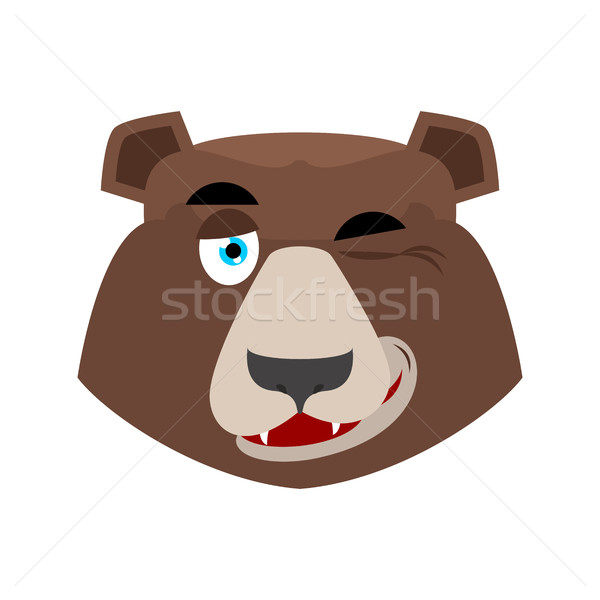 Bear winking Emoji. grizzly happy emotion. face Wild animal isol Stock photo © popaukropa