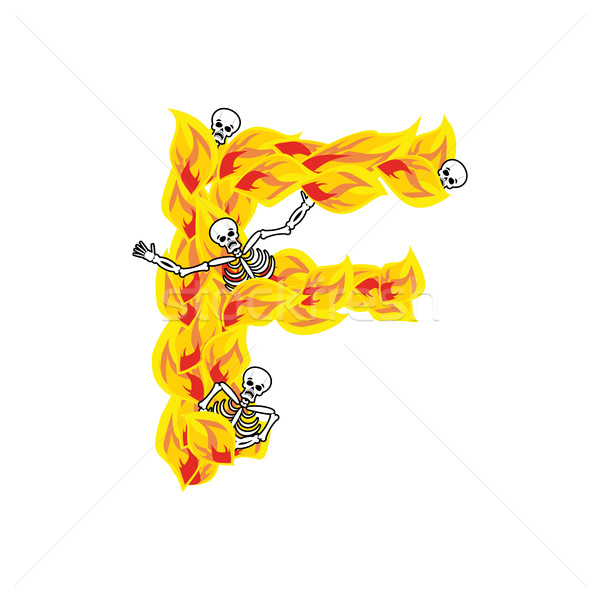 Letter F hellish flames and sinners font. Fiery lettering. Infer Stock photo © popaukropa