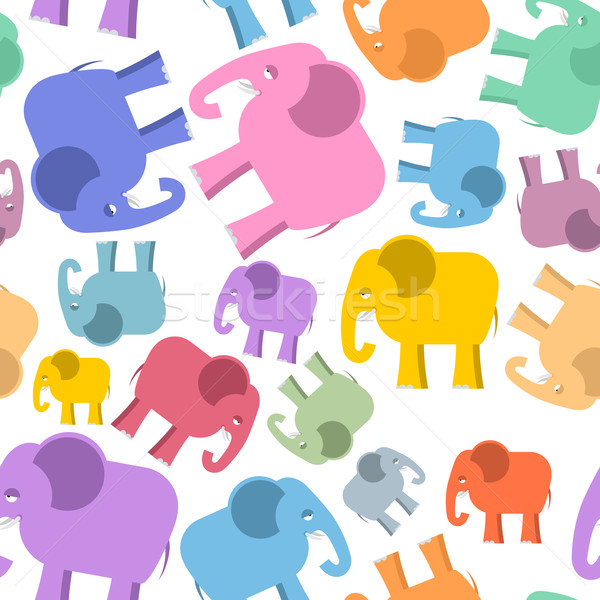 Colored elephant seamless pattern. Cute animals background. Beas Stock photo © popaukropa