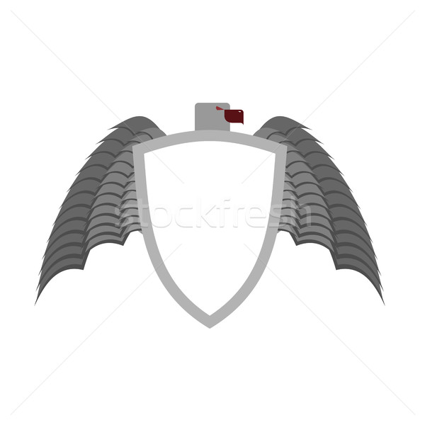 Ferocious gray bird heraldic element for  coat of arms. White sh Stock photo © popaukropa