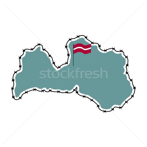 Kaart Letland land grens prikkeldraad europese Stockfoto © popaukropa