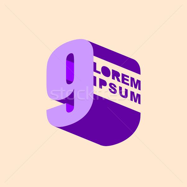 Number 9 3D logo, vector design template elements. Digit nine Stock photo © popaukropa