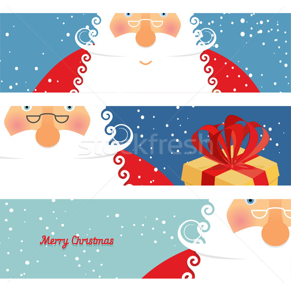 Stock photo: Set of cards Santa Claus. Jolly good Christmas grandfather with