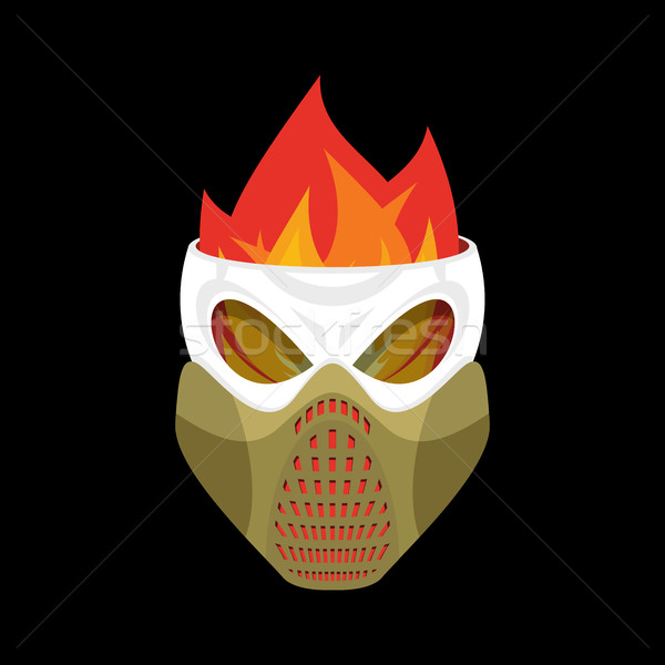 skeleton head paintball helmet. Skull protective mask. Hell def Stock photo © popaukropa