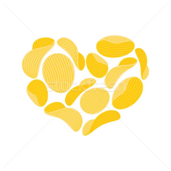 Liefde chips snacks hart geïsoleerd zoals Stockfoto © popaukropa