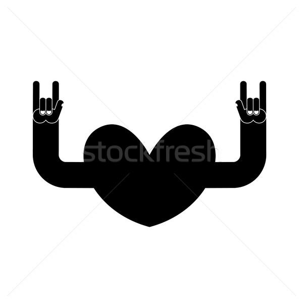 Hart rock logo rollen hand musical Stockfoto © popaukropa