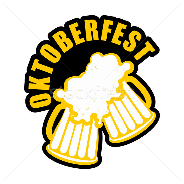 Oktoberfest beer mugs clink logo. Drinking alcohol sign. Emblem  Stock photo © popaukropa