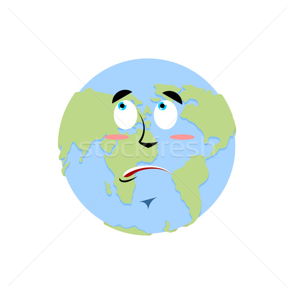 Earth surprise Emoji. Planet  amaze emotion isolated Stock photo © popaukropa