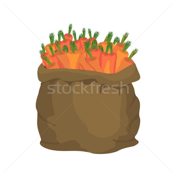 Sárgarépa zsákvászon táska zsák zöldségek nagy Stock fotó © popaukropa