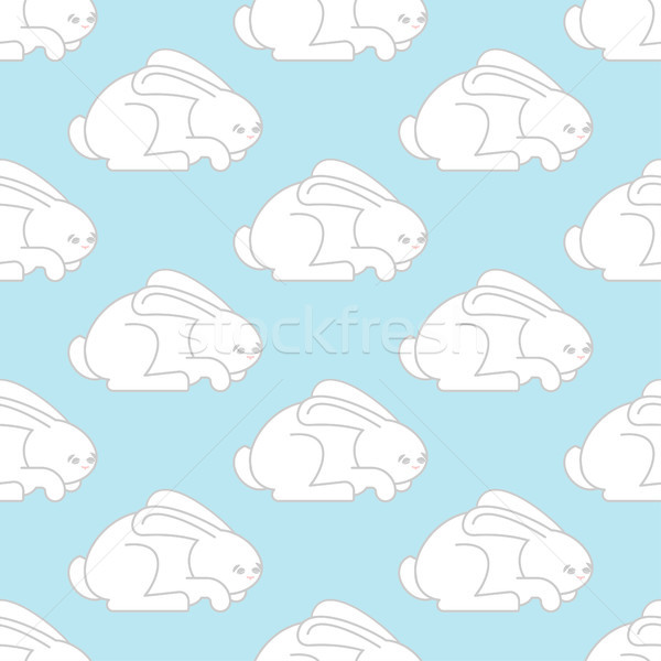 White Rabbit seamless pattern. Hare ornament. bunny background.  Stock photo © popaukropa