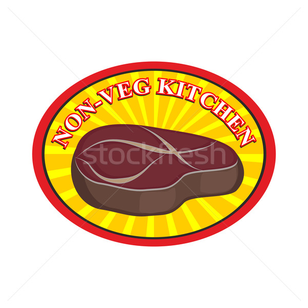 Roasted meat steak. Logo for cafe or restaurant. Kitchen without Stock photo © popaukropa
