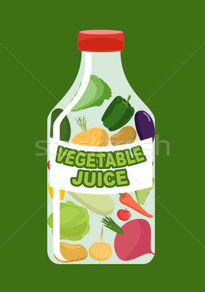 Vegetables juice. Juice from fresh vegetables. Carrot and cucumb Stock photo © popaukropa