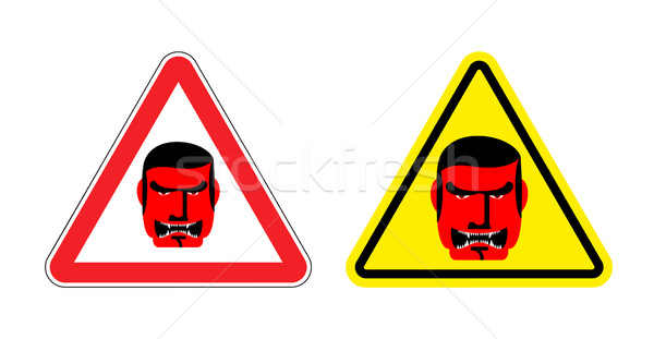 Warning sign of attention an evil boss. Danger sign yellow head. Stock photo © popaukropa