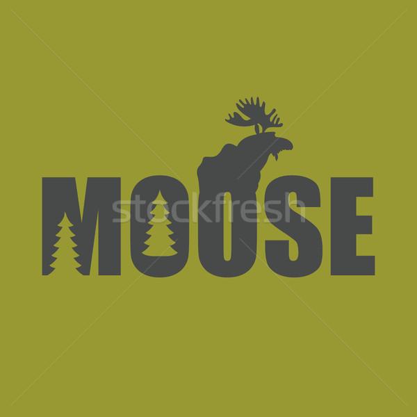 Logo emblema Moose silhouette testo Foto d'archivio © popaukropa