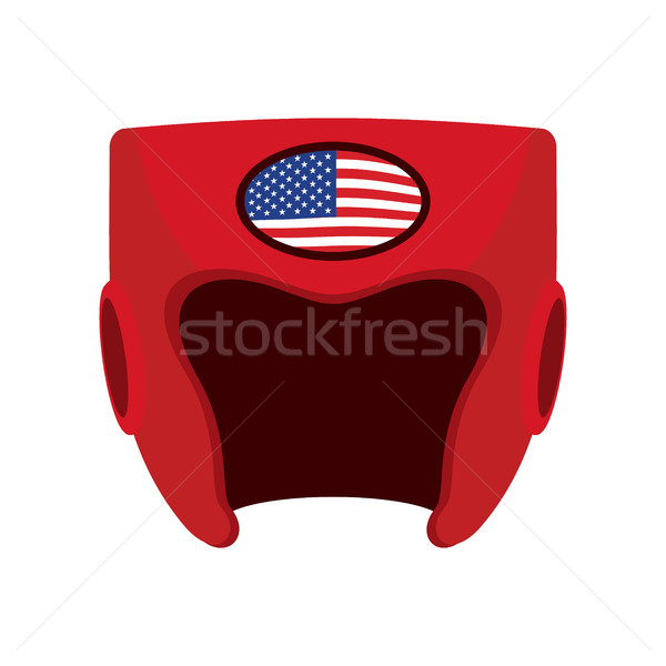 Boxing helmet with the flag of America. Red protective patriotic Stock photo © popaukropa