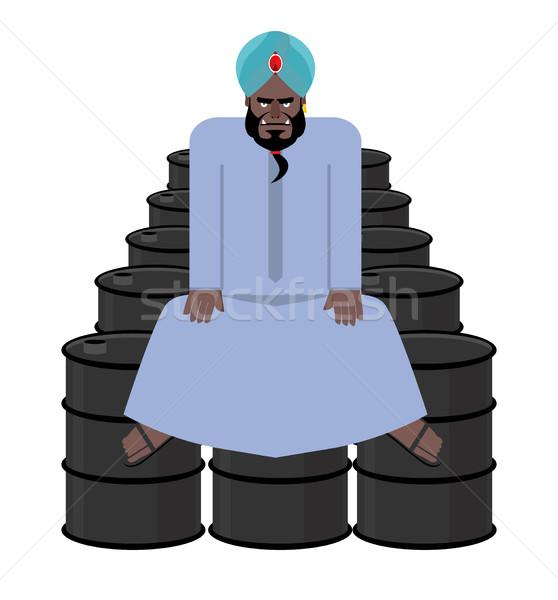Sheikh sits on  barrels of oil. Wealth of  Sultan. Arabic man ha Stock photo © popaukropa