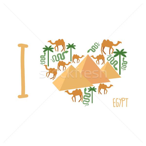 Sevmek Mısır simge kalp piramit deve Stok fotoğraf © popaukropa