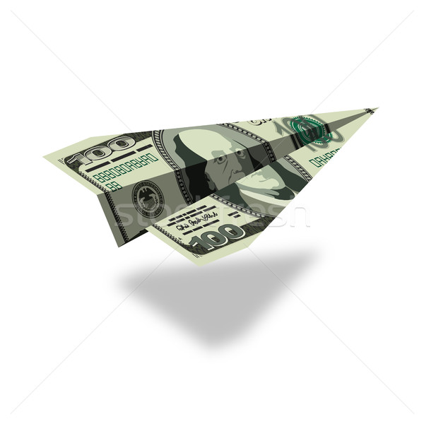 Aircraft dollars. Money banknote paper airplane. Financial illus Stock photo © popaukropa