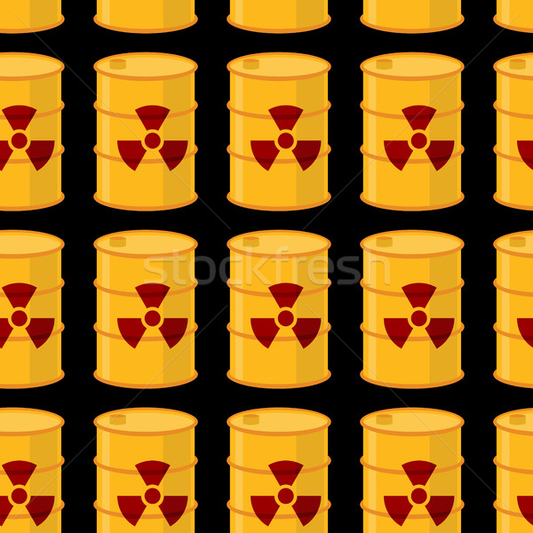 Yellow barrels of radioactive substance seamless pattern. Vector Stock photo © popaukropa