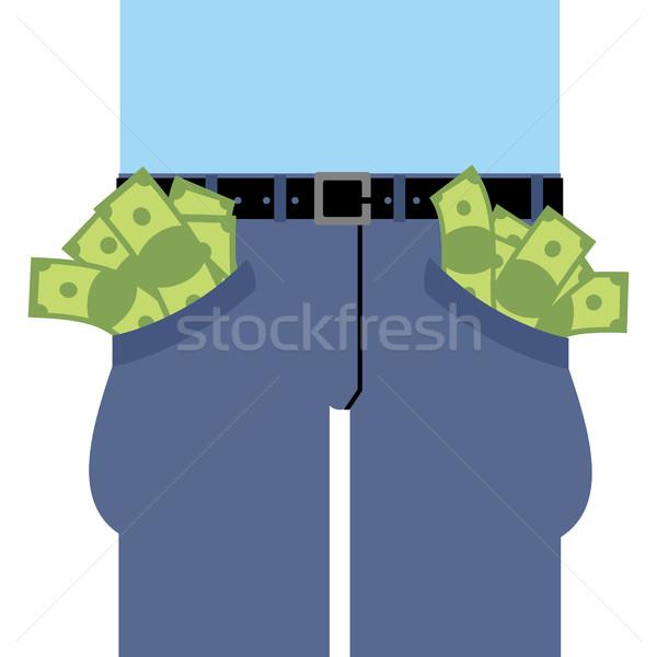 Pockets many money. Jeans full of cash. Rich man in pants. Dolla Stock photo © popaukropa