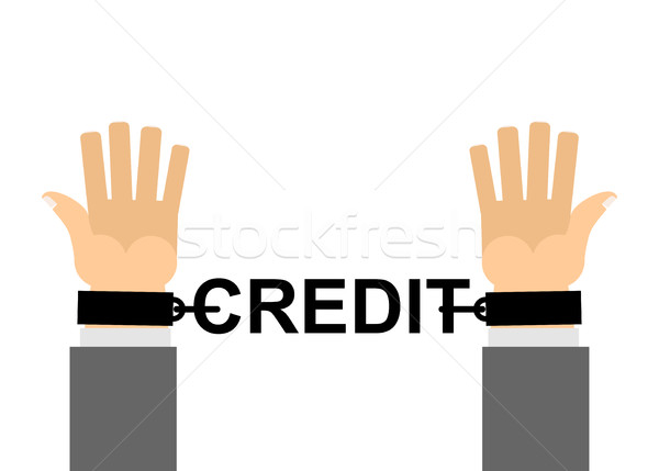 Hands shackled with chains credit. Financial slavery. Our cash l Stock photo © popaukropa
