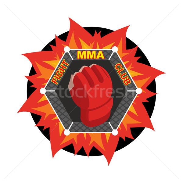 MMA logo. Fighting glove. Emblem for sports team and club. Comba Stock photo © popaukropa