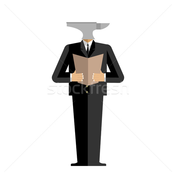 Man anvil businessman. harsh boss. incus manager. Tool in human  Stock photo © popaukropa