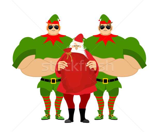 Santa Claus and elves bodyguards. Christmas Santa and guards. Pr Stock photo © popaukropa