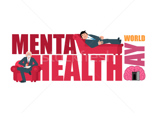 World Mental Health Day. Lettering and psychologist. Consultatio Stock photo © popaukropa
